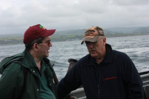 Bob chats it up with John McCurdy, who has worked the Rathlin Island Ferry for decades