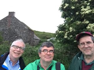 Bill, Richard & Bob in front of our ancestral home in Ballygill on Rathlin Island