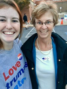 Bridget accompanying Rita to vote. Bridget voted in PA
