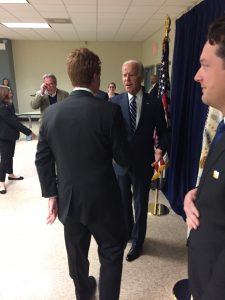 Rep. Joe Kennedy greets VP Joe Biden in Scranton Photo by Dan Black