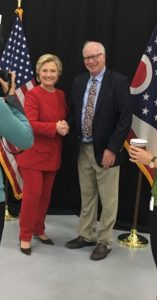 Bill meeting Hillary at Kent State University